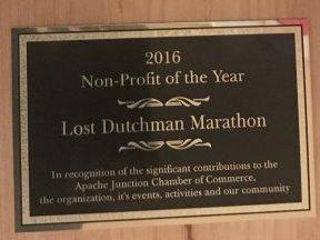 Lost Dutchman Marthon Apache Junction Non Profit of the Year 2016 plaque